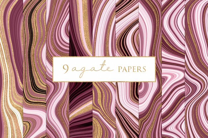Agate Marble and Gold Effect Digital Papers