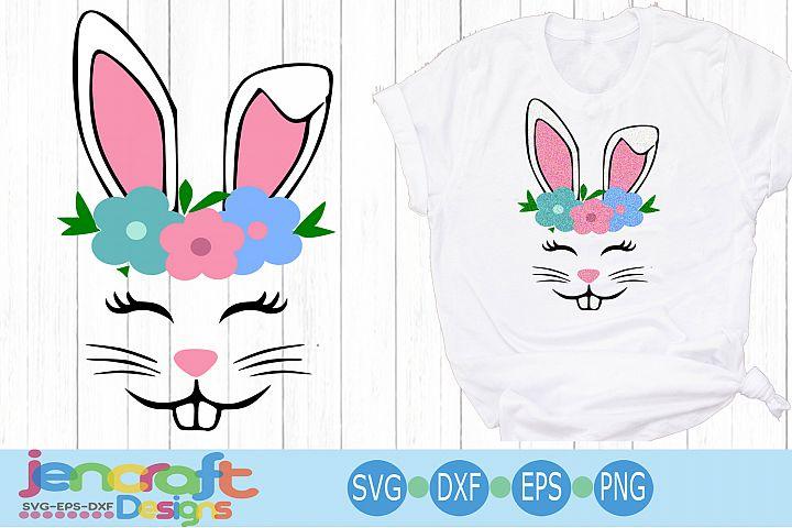 Bunny face svg, Floral Easter SVG EPS DXF cut file