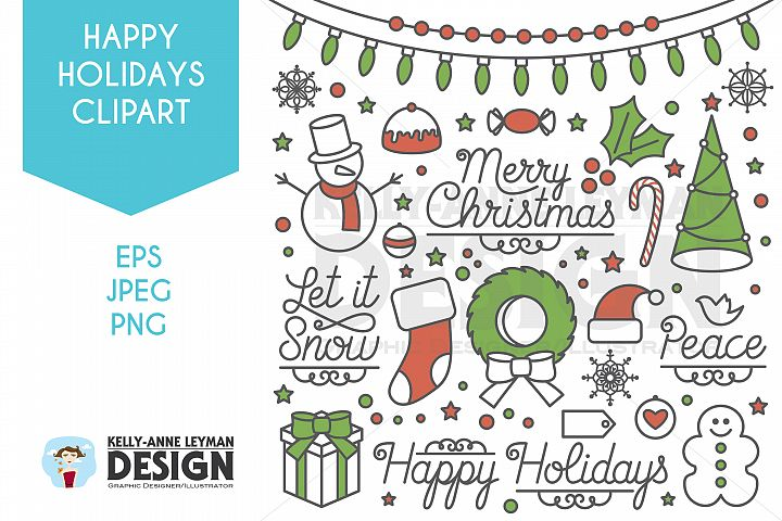 Holiday Clipart, Christmas Clip Art Set
