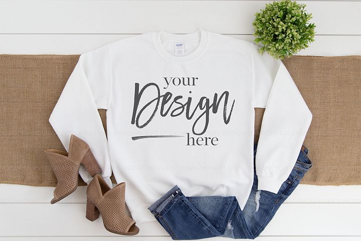 Gildan 18000 Mockup | Sweatshirt Mockup WHITE
