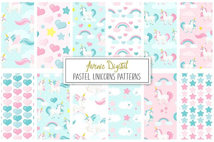 Pastel Unicorns Digital Paper and Vector Patterns
