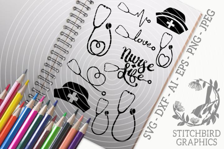 Stethoscopes SVG, Silhouette Studio, Cricut, Eps, Dxf, AI