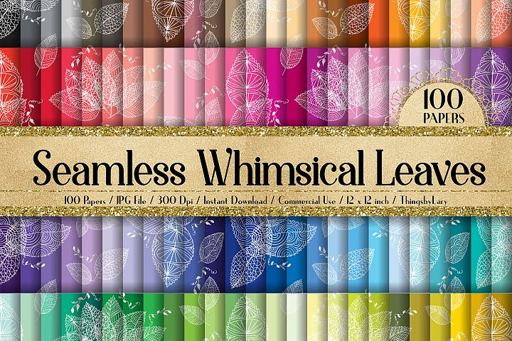100 Seamless Whimsical Leaves Fall Wedding Digital Papers
