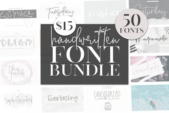 KA Designs Handwritten Font Bundle - 50 Fonts!
