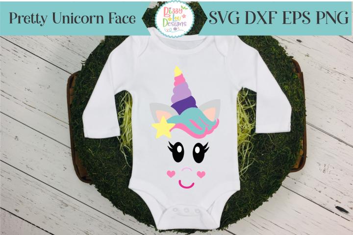Pretty Unicorn Face SVG