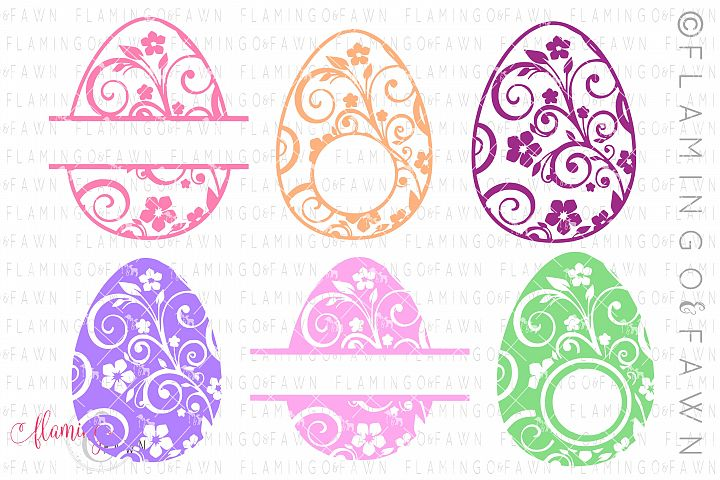 Easter egg monogram flourish bundle svg dxf eps png