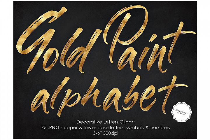 Gold Paint Alphabet Clipart