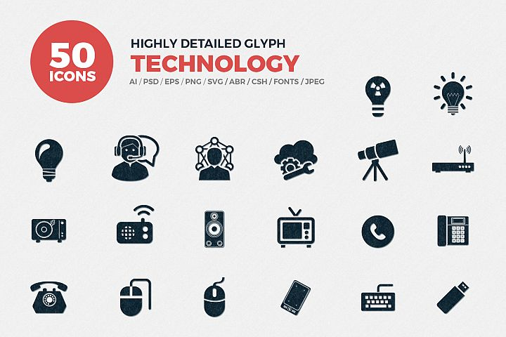Glyph Technology Icons Set