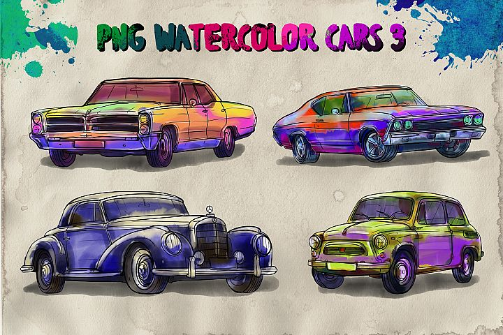 PNG watercolor cars 3
