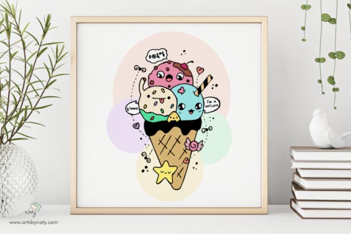 Cute Icecream Kawaii Illustration Printable JPG High-quality
