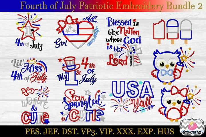 Fourth of July Patriotic Applique Embroidery Bundle 2