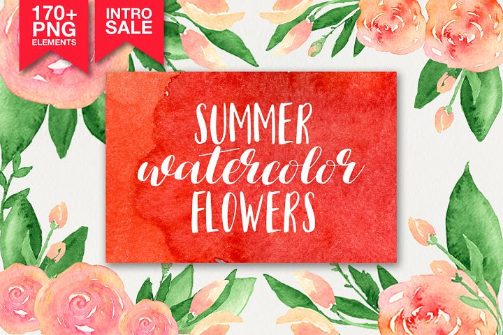 173 summer watercolor flowers