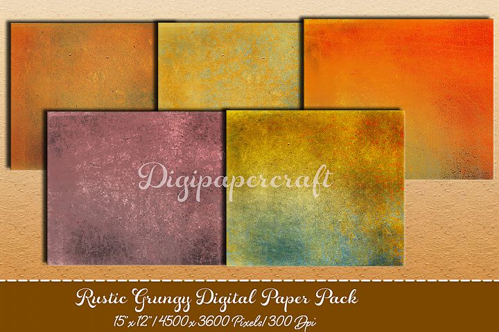 Old rustic digital paper. Grungy paper pack