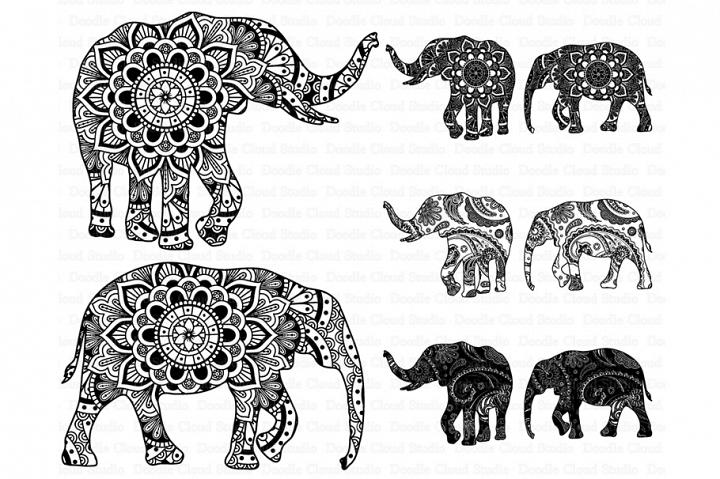 Elephant SVG, Mandala SVG, Elephant Mandala SVG files