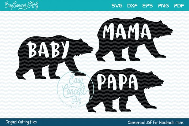 Mama Bear svg, Papa Bear svg, Baby Bear svg,