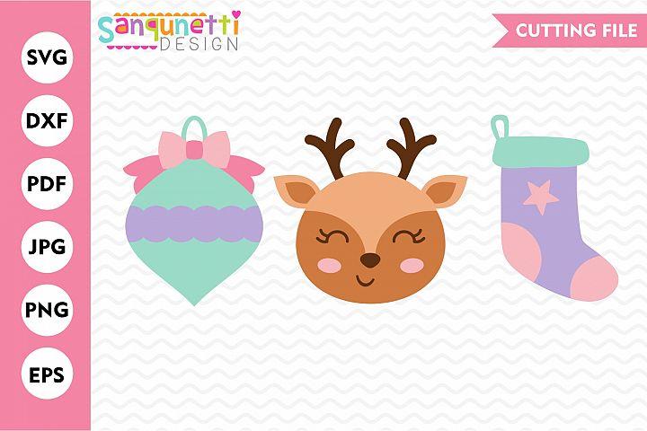 Christmas trio SVG, ornament reindeer stocking cut file