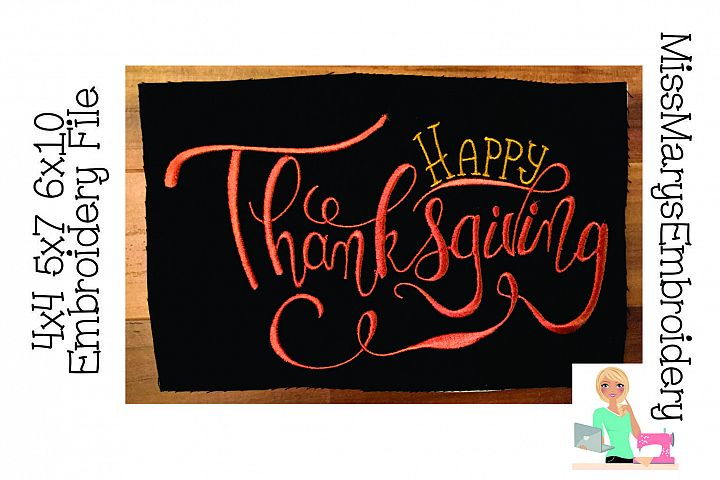 Happy Thanksgiving Hand Lettered Embroidery File