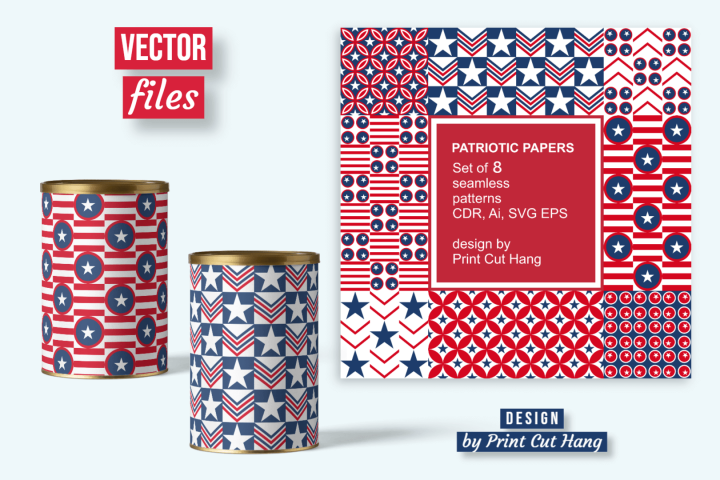 Seamless Patriotic Patterned Papers Ai, CDR, SVG, EPS