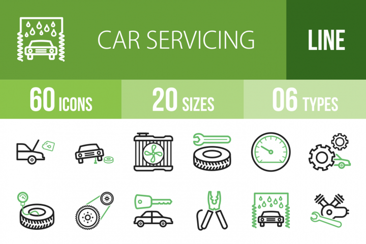 60 Car Servicing Line Green & Black Icons