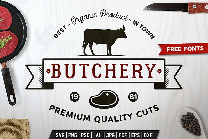 BBQ Logo Design for T-Shirt. Retro Barbecue SVG Cut File