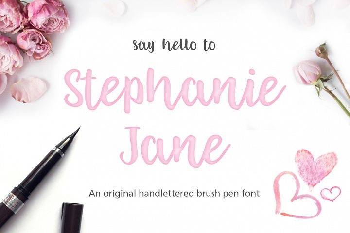 Stephanie Jane hand lettered font