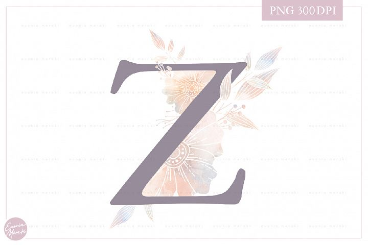 Letter Z Floral MONOGRAM - elegant wedding flower initial