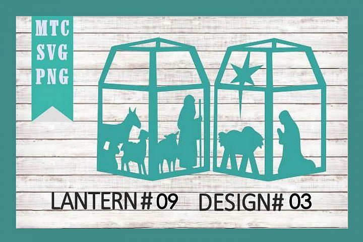 Christmas Nativity 3D Paper Lantern #09 Design #03 Cut File