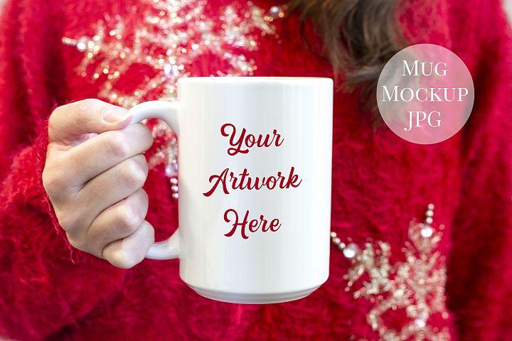 Woman holding a 15oz mug, Red christmas jumper
