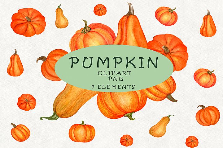 Pumpkin watercolor clipart