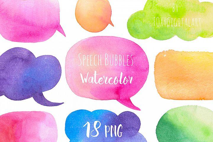 Watercolor Speech Bubbles Clipart Hand Painted