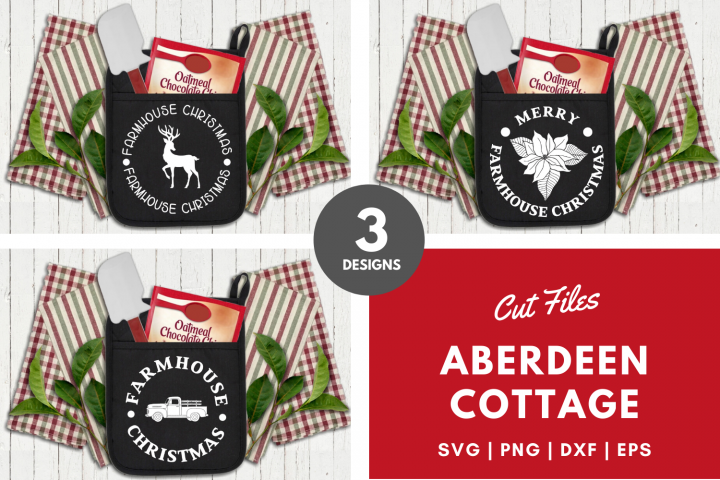 Farmhouse Christmas Kitchen Pot Holders Bundle 2 - SVGs