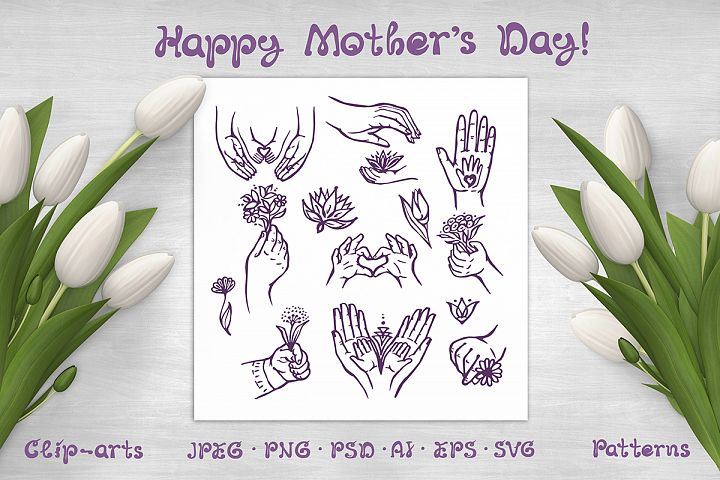 Mothers Day hand drawn elements, patterns and cards