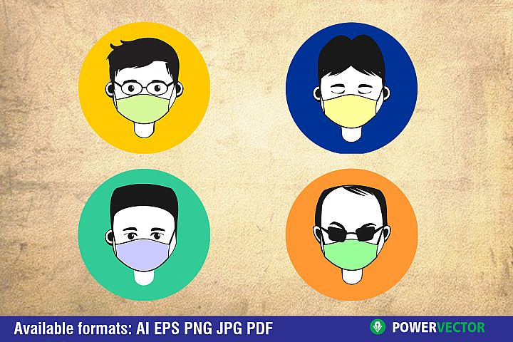Men Avatar with Protective Face Mask