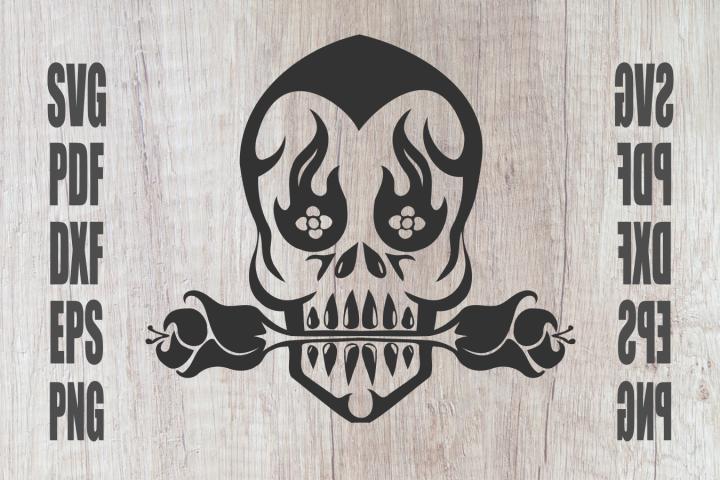 Skull svg, Mr. Barbel Rose, instant download, cut file