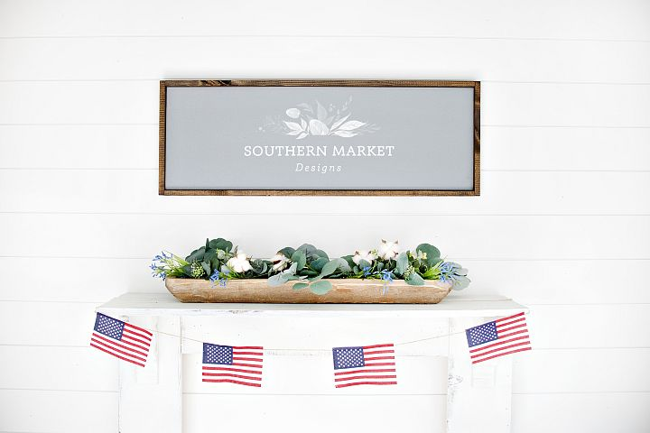 Patriotic Summer Wood 12x36 Sign Mock Up Stock Photo