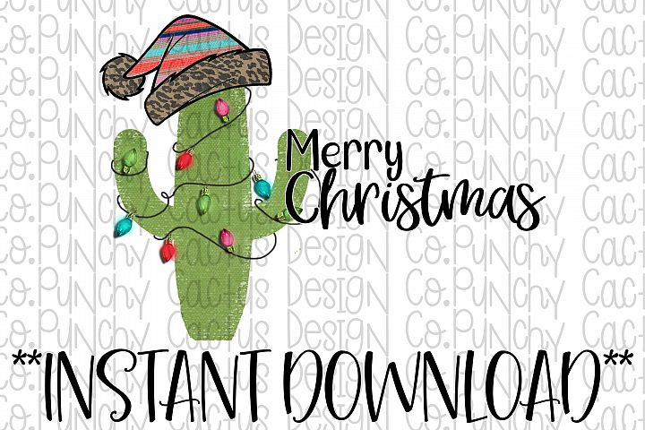 Merry Christmas Cactus Sublimation Download, Christmas
