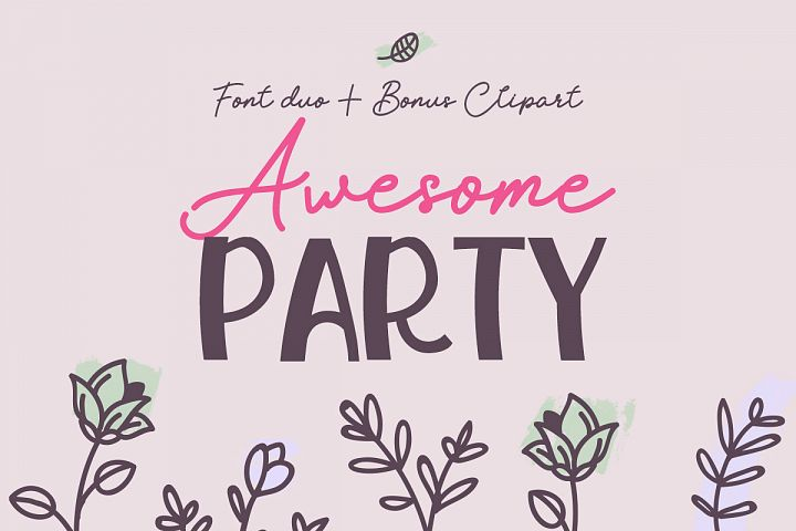 Awesome Party Font Duo with Doodles