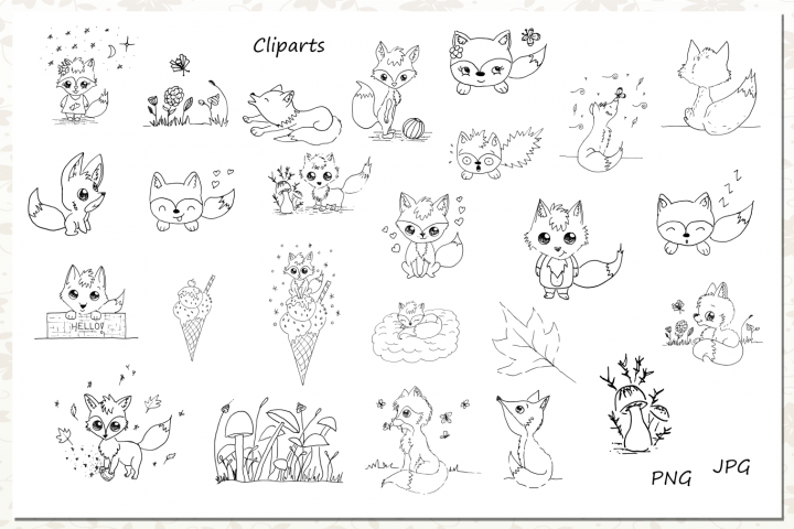 Cute Animals Collection - Fox Clipart