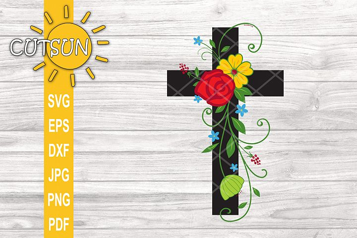 Cross SVG cut file for crafters | Floral cross SVG cut file