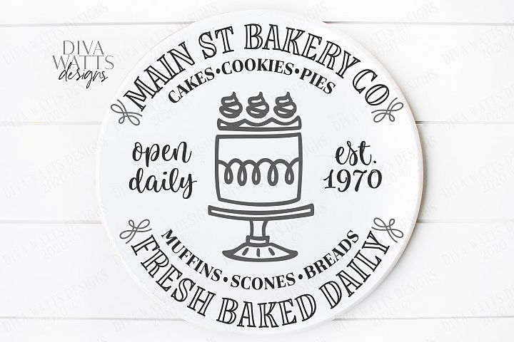 Main St Bakery - Cakes Cookies Pies - Open Daily - Round SVG