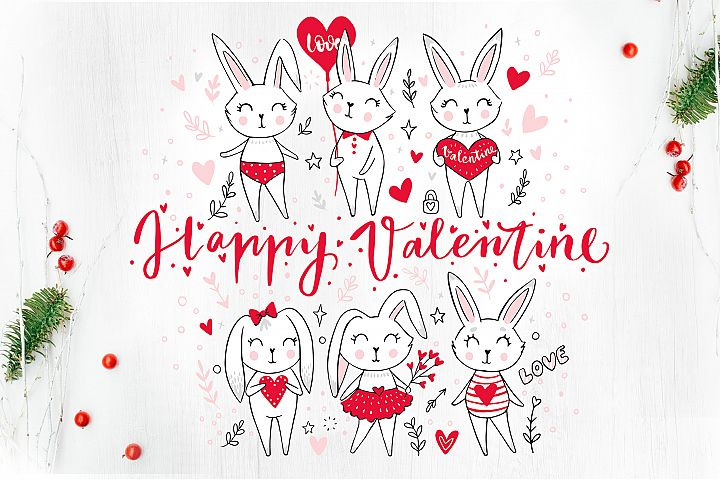Happy Valentines Day. Cute bunnies