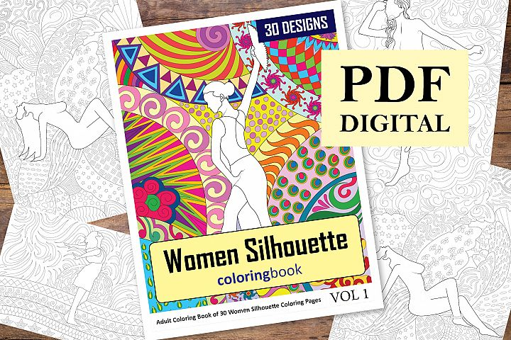 Women Silhouette Coloring Book - 30 Unique Illustrations