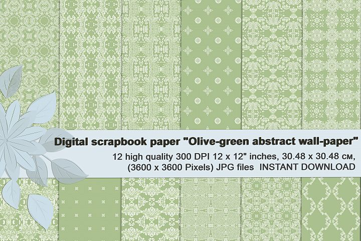 Olive-green abstract digital scrapbook paper.