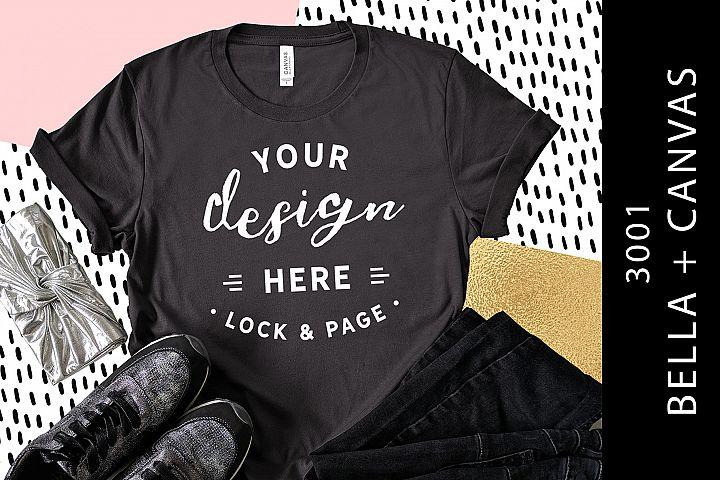 848bb20d145ecd Dark Grey Bella Canvas 3001 T-Shirt Mockup Feminine Flat Lay