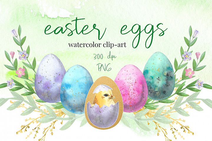 Easter Eggs . Watercolor clip-art collection.