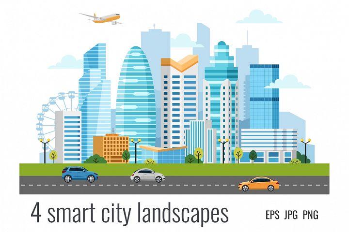 4 urban smart city landscapes