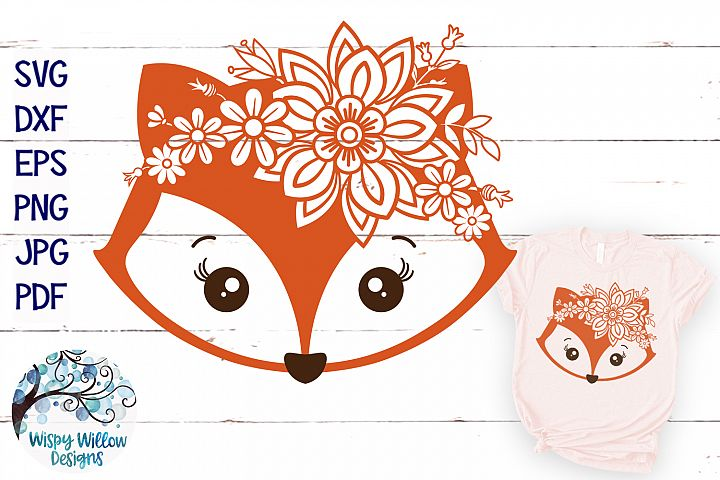 Floral Fox SVG | Girl Fox Face SVG Cut File