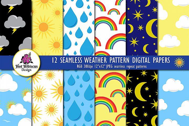 Weather Pattern Seamless Digital Papers Bundle