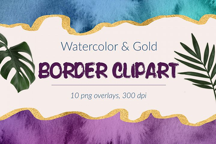 Watercolor And Gold Borders