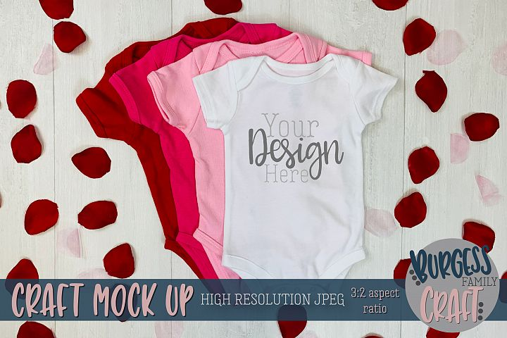 Valentine baby bodysuit Craft mock up